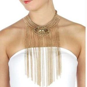 Metal chain choker necklace and Earrings set